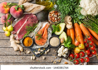 Balanced nutrition concept for clean eating flexitarian mediterranean diet. Assortment of healthy food ingredients for cooking on a kitchen table. Top view flat lay background