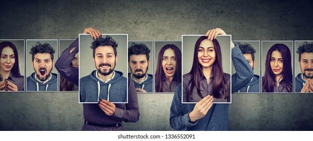 Concept de relation équilibrée. Femme masquée et homme exprimant différentes émotions échangeant des visages