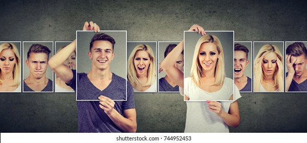 Balanced relationship concept. Masked woman and man expressing different emotions