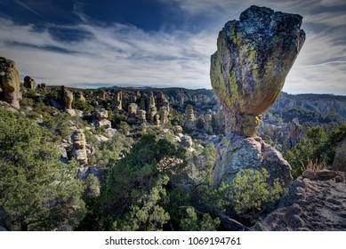 Balanced rock formation and hoodoos at Chiricahua National Monument near Wilcox Arizona.