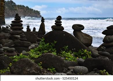 Balanced rocks at the Polulu black sand beach, Kohala coast, Big Island, Hawaii