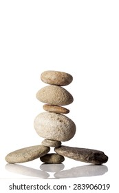 Balanced stack of different river stones