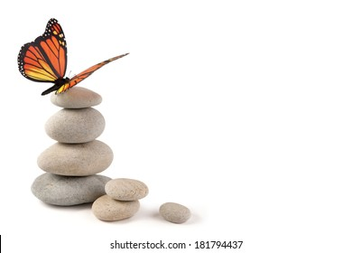 Balanced stones with butterfly