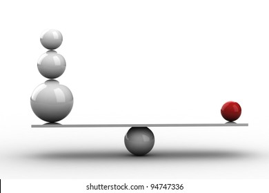 Balancing balls on wooden board