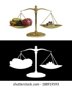 Balancing healthy fruit and cake on some scales, with alpha image.