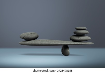 Balancing pyramid of sea pebbles on a gray desk, the concept of harmony and balance,