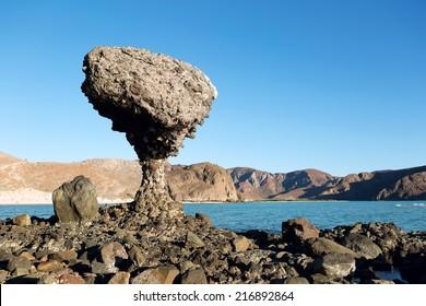 balancing rock at Balandra Beach, La Paz , Baja California, Mexico
