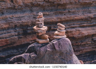 Balancing rocks found on beaches and cliffs in San Diego, California, United States.