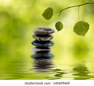 Balancing stones in the water and green branch