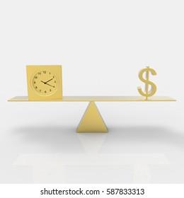 Balancing time and dollar 3d render
