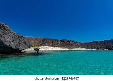 Balandra beach suspended mushroom rock mexico baja california sur