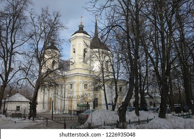 BALASHIKHA, MOSCOW OBLAST / RUSSIA - JANUARY 23 2017: The homestead church in the old estate Pehra-Yakovlevskoe during winter