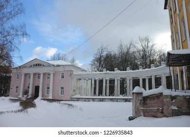 BALASHIKHA, MOSCOW OBLAST / RUSSIA - JANUARY 23 2017: The side wing house in the old estate Pehra-Yakovlevskoe during winter