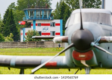 Balashikha, Moscow region, Russia - May 25, 2019: Light single engine turboprop aircraft on a green grass of Chyornoe airfield at the Aviation festival Sky Theory and Practice 2019