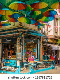 Balat district Istanbul Turkey July 2018, colorful homes and houses at the town