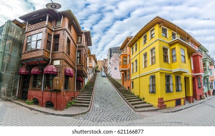 Balat district streets view with colorful homes in Istanbul