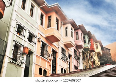 Balat in Istanbul Famous Colorful Buildings and Hill