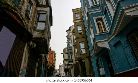 Balat, Istanbul / Turkey - 18.03.2018: View of Balat houses / homes which is a historic district in Istanbul in Marmara region, Turkey. Traditional Ottoman houses in Istanbul's European side.