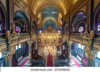 Balat, Istanbul, Turkey 4.10.2019 Bulgarian St. Stephen Church. Bulgarian Iron Church is a Bulgarian Orthodox church. 120 years old Bulgarian Orthodox Iron Church in Istanbul Reopens After Restoration