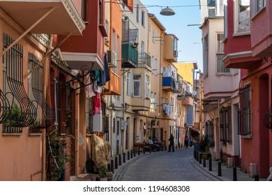 Balat, Istanbul / Turkey - September 24 2019: A street in Balat, Istanbul