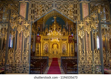 Balat, Istanbul / Turkey - September 24 2018: Bulgarian Church interior view