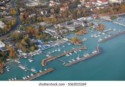 Balaton, Balatonfured harbor, Hungary aerial drone view