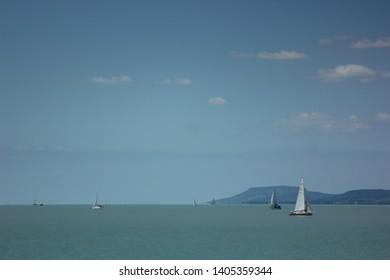 Balaton, Hungary, circa 2015. 07. 01. Ships on the lake Balaton in summer time.