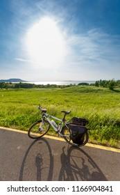 Balaton lake, Hungary. Touring bicycle