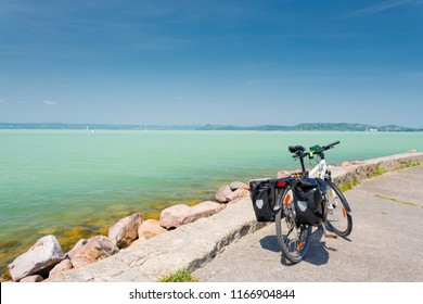 Balaton lake, Hungary. Touring bicycle