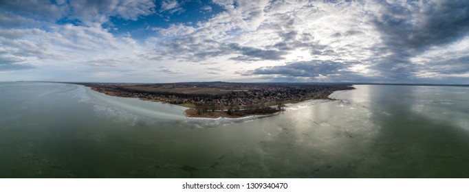 Balatonbereny panoramic view at winter from lake Balaton
