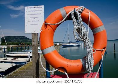 Balatonfenyves Kikötő, Lake Balaton / Hungary  - 08/27/2019: Lake Balaton Yacht Club and harbour