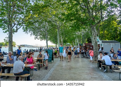 Balatonfured, Hungary, 06.10.2019 : Fish ad wine festival at lake balaton with people and lake background summer