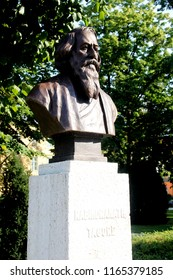 "Balatonfured, Hungary - 08.17.2018 Monument of Rabindranath Tagore,Tagore Promenade – The High Street"" of Balatonfüred"