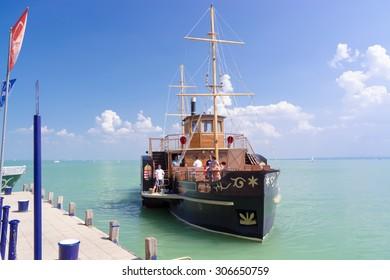 BALATONFURED, HUNGARY - AUGUST 4. 2015 - the old steamship Kisfaludy at the Port of Balatonfured