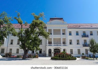 BALATONFURED, HUNGARY - AUGUST 4. 2015 - The summer view of the State Hearth Hospital in Balatonfured, Hungary