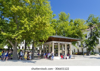 BALATONFURED, HUNGARY - AUGUST 4. 2015 - view of the Kossuth Lajos Fountain in Balatonfured