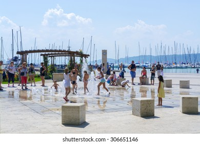 BALATONFURED, HUNGARY - AUGUST 4. 2015 - Fountain in the ship port of Balatonfured, Hungary