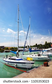 BALATONFURED, HUNGARY - JUNE 02 2018: Yachts in the harbour of Baltonfured, Hungary, Europe