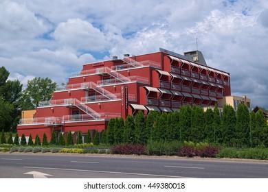 BALATONFURED, HUNGARY - JUNE 2, 2016: Modern building of Margareta Hotel in Balatonfured town, it is a part of resort area of Balaton lake, Hungary.