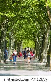 BALATONFURED,HUNGARY,-JULY 1. 2016.: Walking people in the famous Tagore Promenade on the shore of Balatonfured.