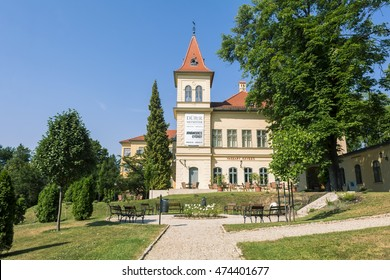 BALATONFURED,HUNGARY,JULY 1,2016:View of the beautifully restored Vaszary villa of the culture quarter of Balatonfured.The villa is a great exhibition center of fine arts at the shore of Lake Balaton.
