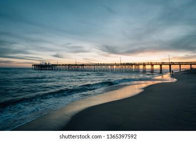 The Balboa Pier at sunset, in Newport Beach, Orange County, California