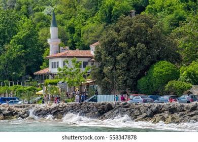 Balchik, Bulgaria - Circa May, 2016: Balchik Palace former residence of Queen Marie of Romania at seaside of Bulgarian Black Sea in spring season