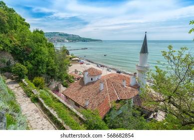 Balchik, Bulgaria - Circa May, 2016: Top view of Balchik Palace former residence of Queen Marie of Romania at seaside of Bulgarian Black Sea in spring season