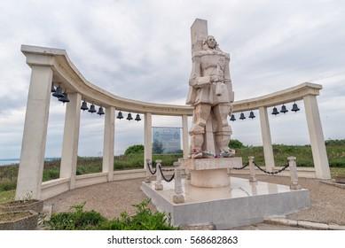 Balchik, Bulgaria - Circa May, 2016: A memorial sculpture of the Russian Admiral F.F. Ushakov on Cape Kaliakra in memory of The Battle of Cape Kaliakra, Bulgaria, in the Black Sea.