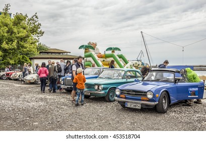 """BALCHIK, BULGARIA - MAY 20, 2016.Retro car rally from Bucharest to the Bulgarian Black Sea at Balchik and then sailing with vintage boats, during the event """" Follow your passion """" - Retro Regatta 2016"""