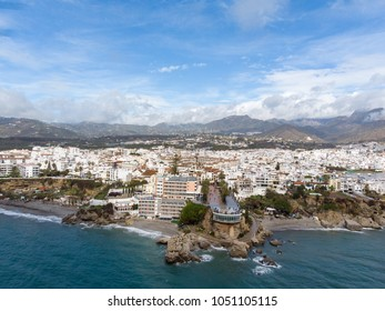 Balcon de Europa or Balcony of Europe in Nerja town on Costa del Sol, Andalucia, Spain. View from air, march 2018