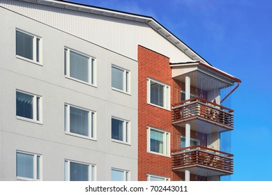 Balconies of apartment residential building Rovaniemi, Lapland, Finland.