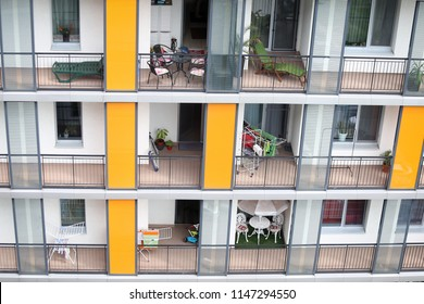 Balconies from a block of flats in Bucharest, Romania