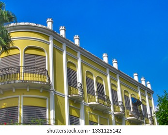 Balconies in Colonial Style Building in Mayaguez, Puerto Rico